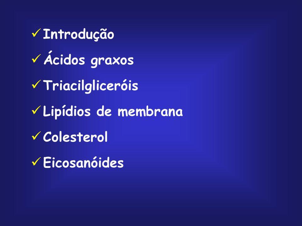 Introdução Ácidos graxos Triacilgliceróis Lipídios de membrana Colesterol Eicosanóides