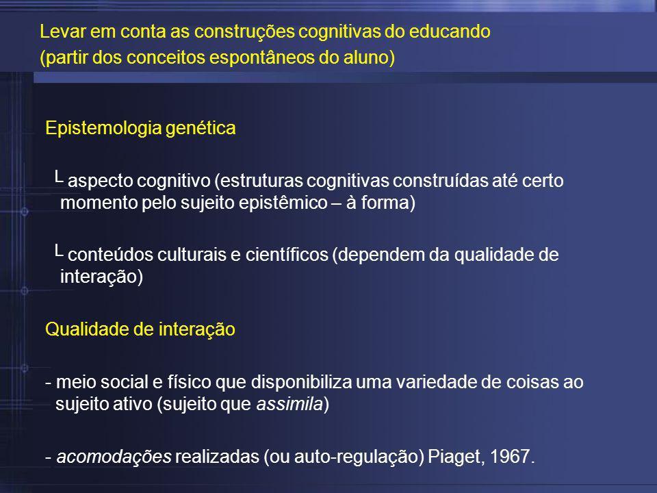 Epistemologia genética aspecto cognitivo (estruturas cognitivas construídas até certo momento pelo sujeito epistêmico – à forma) conteúdos culturais e