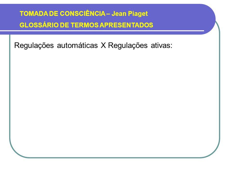 TOMADA DE CONSCIÊNCIA – Jean Piaget GLOSSÁRIO DE TERMOS APRESENTADOS Regulações automáticas X Regulações ativas: