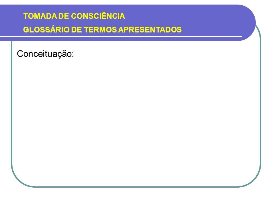 TOMADA DE CONSCIÊNCIA GLOSSÁRIO DE TERMOS APRESENTADOS Conceituação: