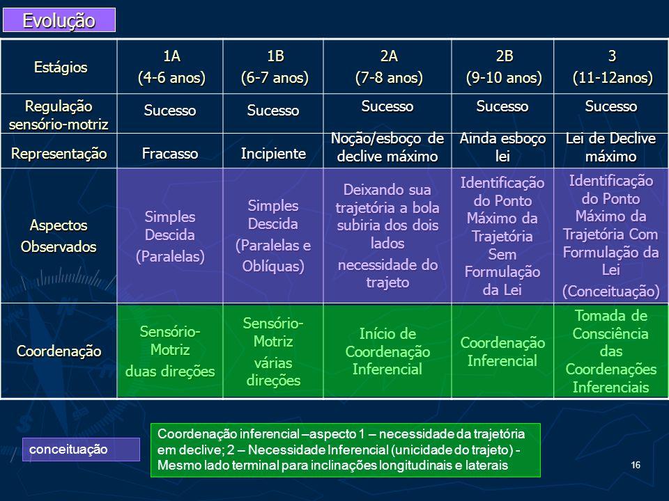 16 conceituação Evolução Estágios1A (4-6 anos) 1B (6-7 anos) 2A (7-8 anos) 2B (9-10 anos) 3(11-12anos) Regulação sensório-motriz Representação Sucesso