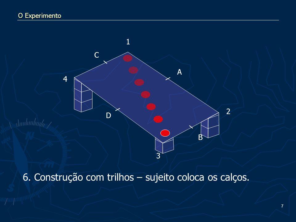 7 O Experimento 6. Construção com trilhos – sujeito coloca os calços. A B C D 1 2 3 4
