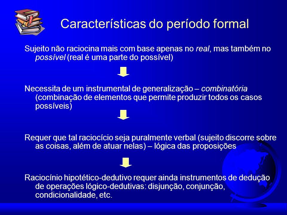 Características do período formal Sujeito não raciocina mais com base apenas no real, mas também no possível (real é uma parte do possível) Necessita