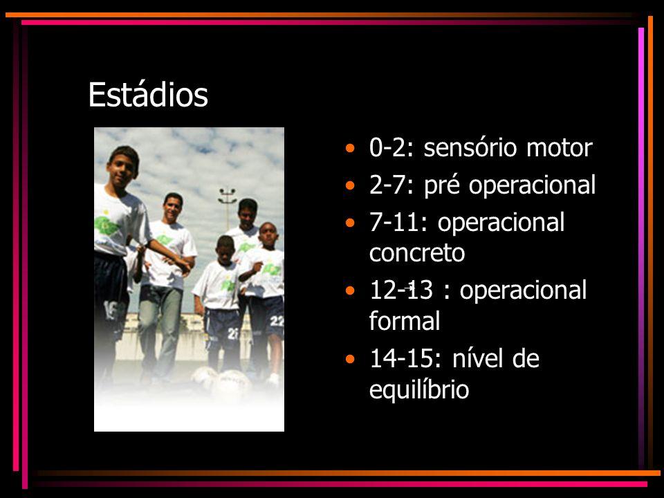 Estádios 0-2: sensório motor 2-7: pré operacional 7-11: operacional concreto 12-13 : operacional formal 14-15: nível de equilíbrio