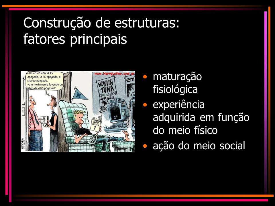 Construção de estruturas: fatores principais maturação fisiológica experiência adquirida em função do meio físico ação do meio social