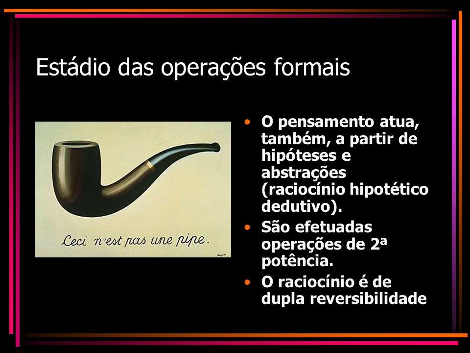 Estádio das operações formais O pensamento atua, também, a partir de hipóteses e abstrações (raciocínio hipotético dedutivo). São efetuadas operações