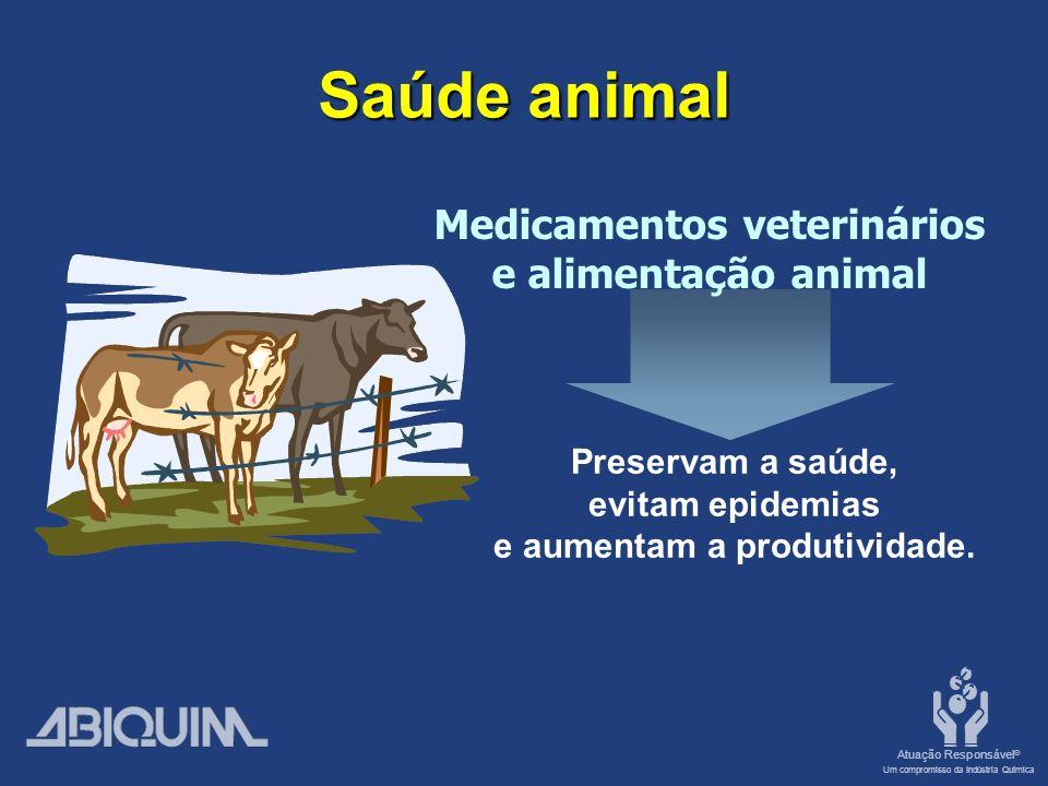 Atuação Responsável ® Um compromisso da Indústria Química Saúde animal Medicamentos veterinários e alimentação animal Preservam a saúde, evitam epidemias e aumentam a produtividade.