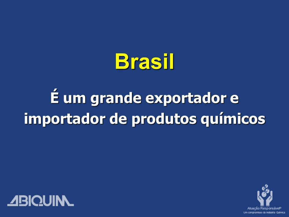Atuação Responsável ® Um compromisso da Indústria Química Brasil É um grande exportador e importador de produtos químicos
