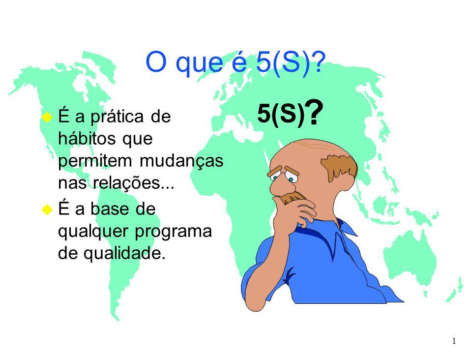 O que é 5(S)? u É a prática de hábitos que permitem mudanças nas relações... u É a base de qualquer programa de qualidade. 5(S) ? 1