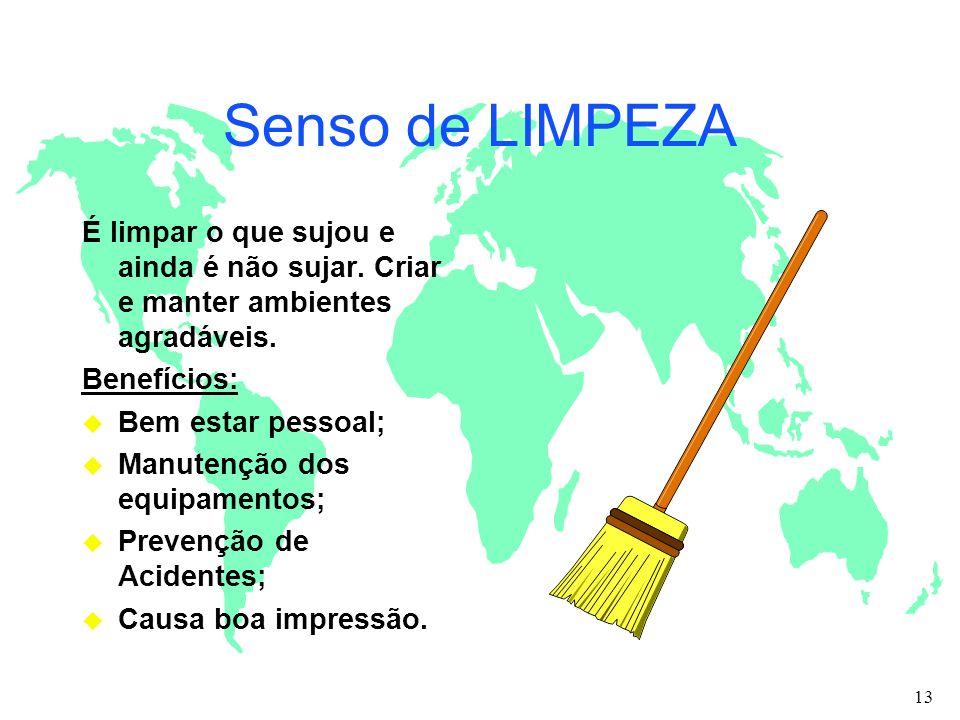 Senso de LIMPEZA É limpar o que sujou e ainda é não sujar. Criar e manter ambientes agradáveis. Benefícios: u Bem estar pessoal; u Manutenção dos equi