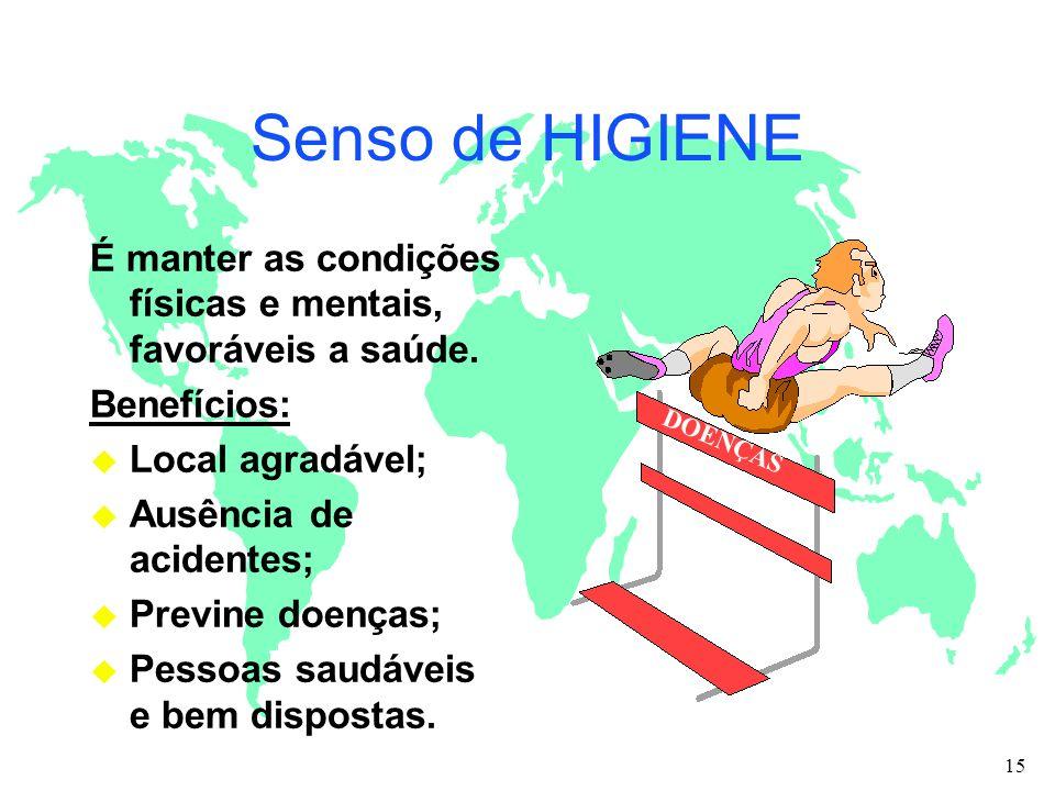 Senso de HIGIENE É manter as condições físicas e mentais, favoráveis a saúde. Benefícios: u Local agradável; u Ausência de acidentes; u Previne doença
