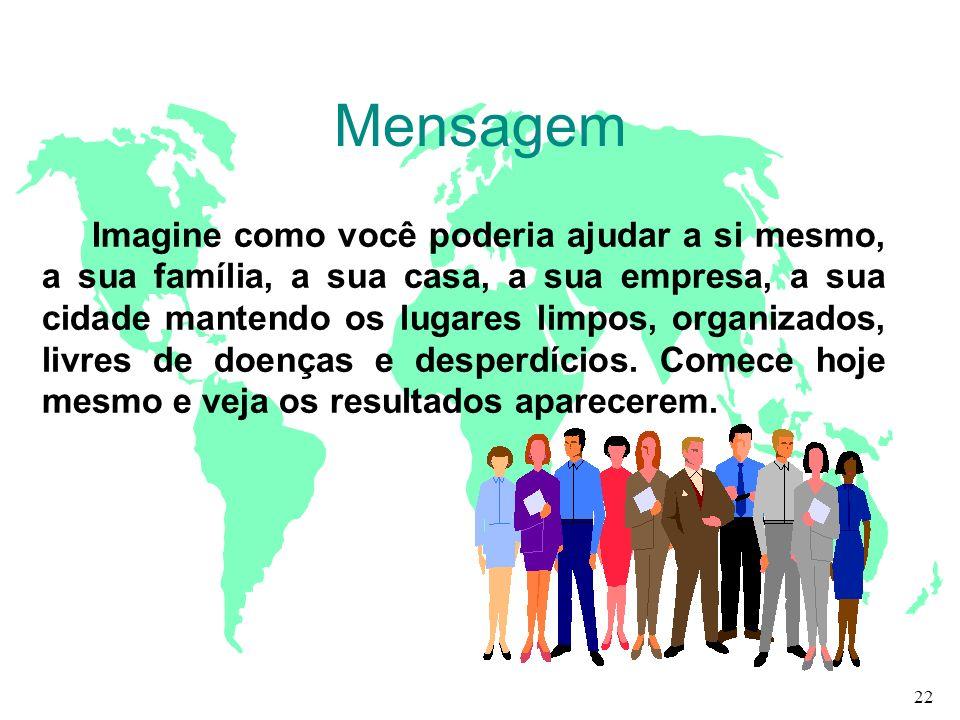 Mensagem Imagine como você poderia ajudar a si mesmo, a sua família, a sua casa, a sua empresa, a sua cidade mantendo os lugares limpos, organizados,