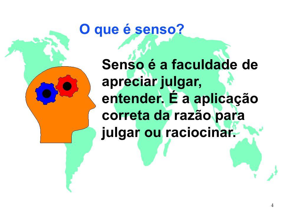 O que é senso? Senso é a faculdade de apreciar julgar, entender. É a aplicação correta da razão para julgar ou raciocinar. 4