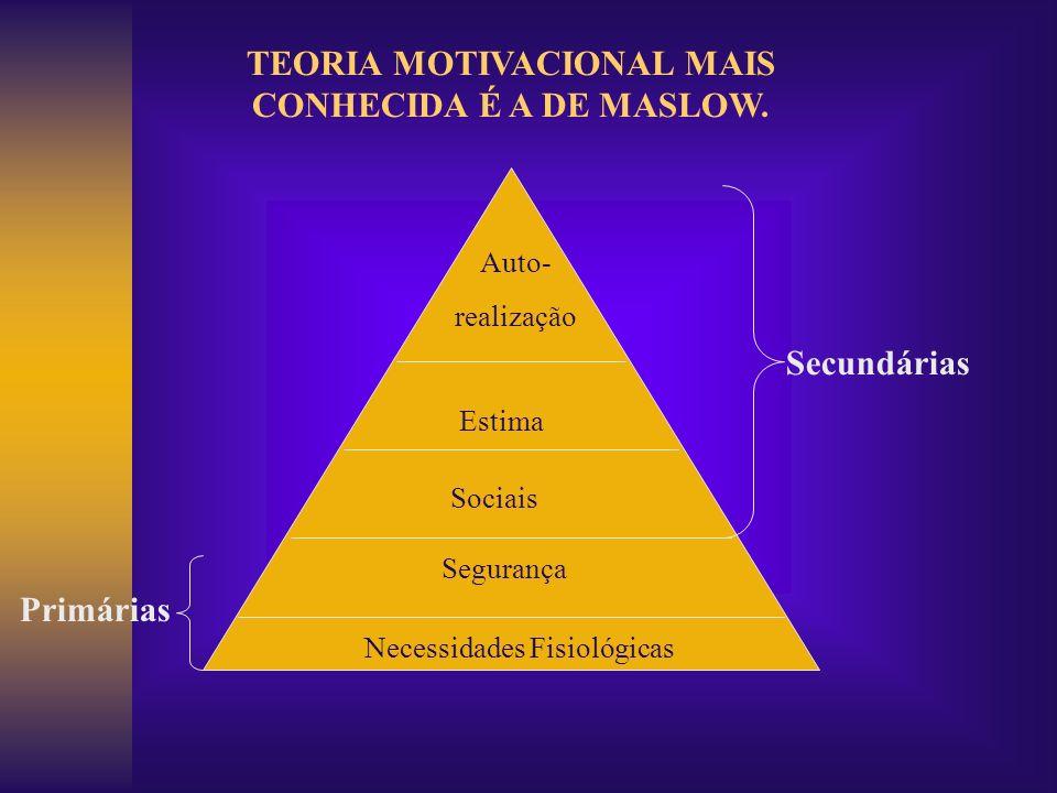 Auto- realização Estima Sociais Segurança Necessidades Fisiológicas Secundárias Primárias TEORIA MOTIVACIONAL MAIS CONHECIDA É A DE MASLOW.