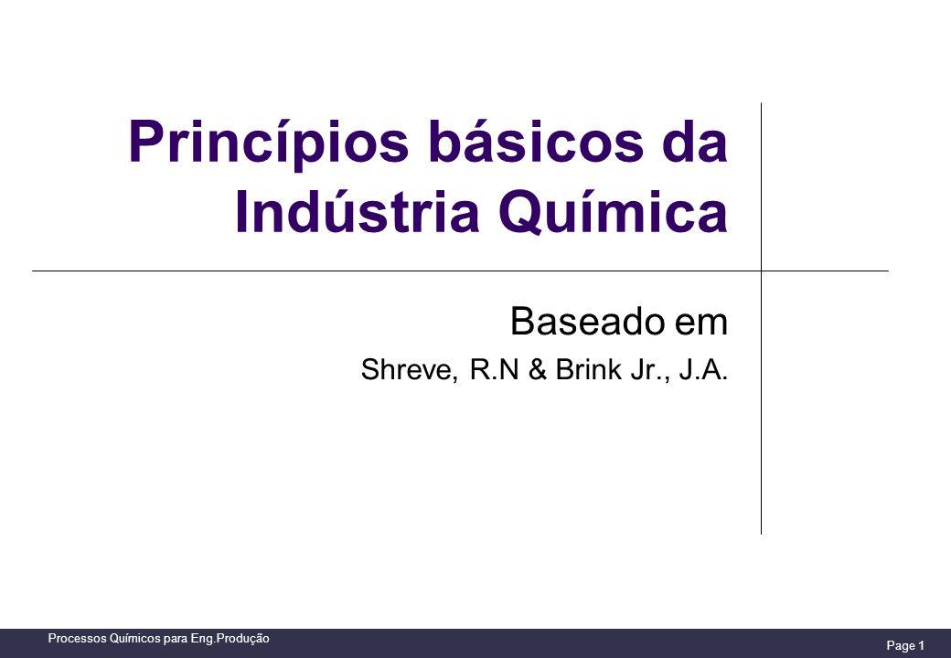 Page 1 Processos Químicos para Eng.Produção Princípios básicos da Indústria Química Baseado em Shreve, R.N & Brink Jr., J.A.