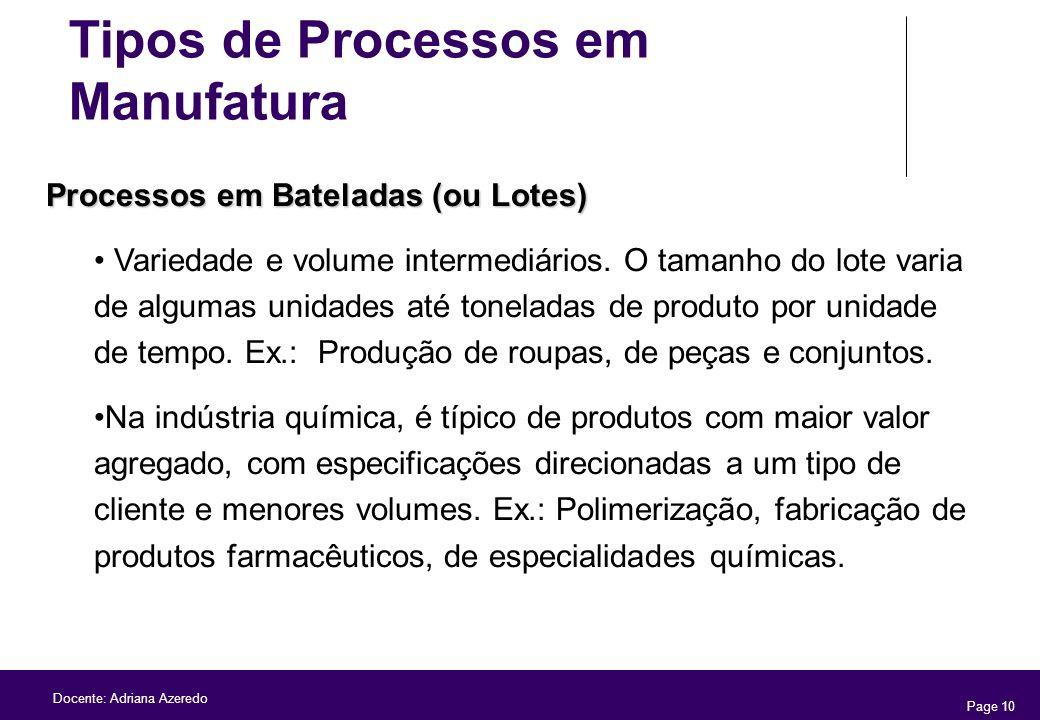 Page 10 Docente: Adriana Azeredo Processos em Bateladas (ou Lotes) Variedade e volume intermediários. O tamanho do lote varia de algumas unidades até