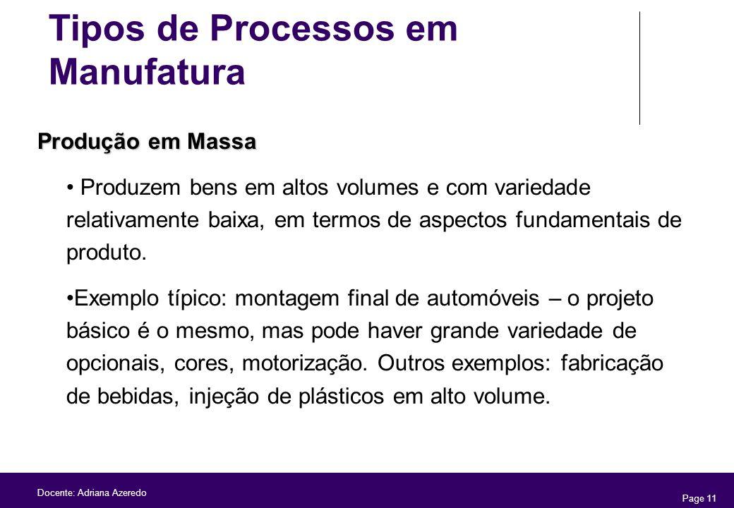 Page 11 Docente: Adriana Azeredo Produção em Massa Produzem bens em altos volumes e com variedade relativamente baixa, em termos de aspectos fundament