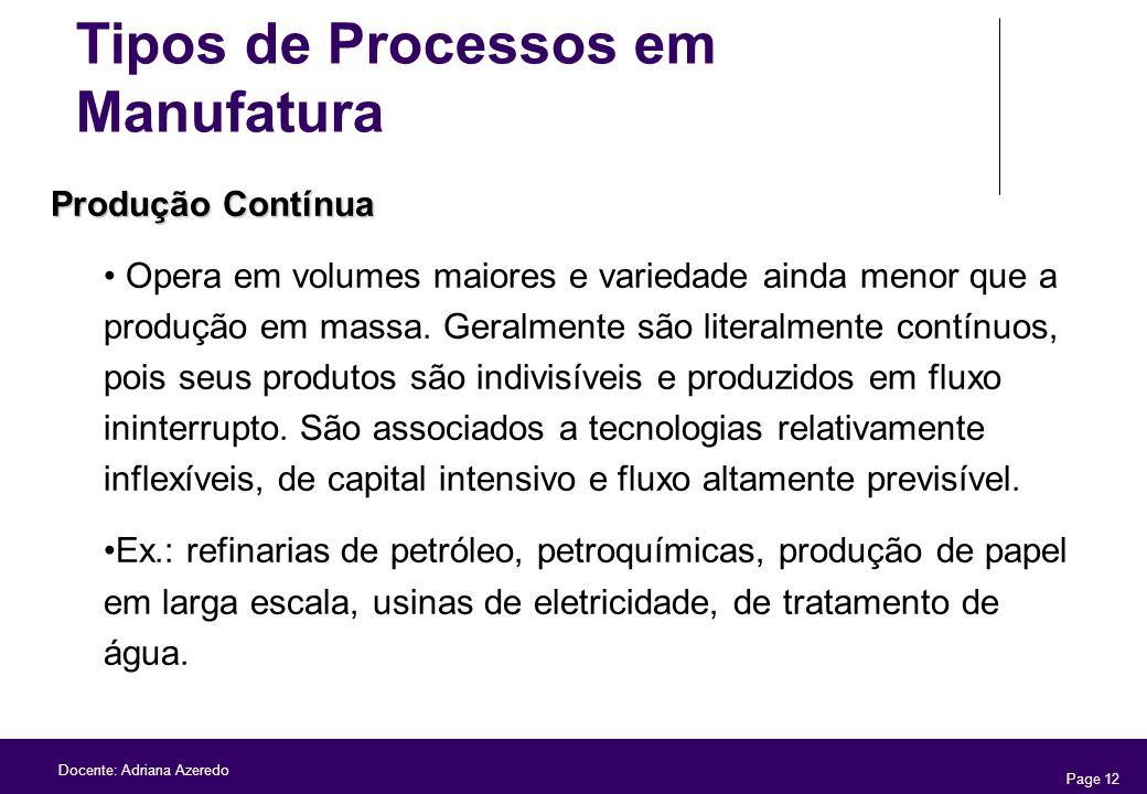 Page 12 Docente: Adriana Azeredo Produção Contínua Opera em volumes maiores e variedade ainda menor que a produção em massa. Geralmente são literalmen
