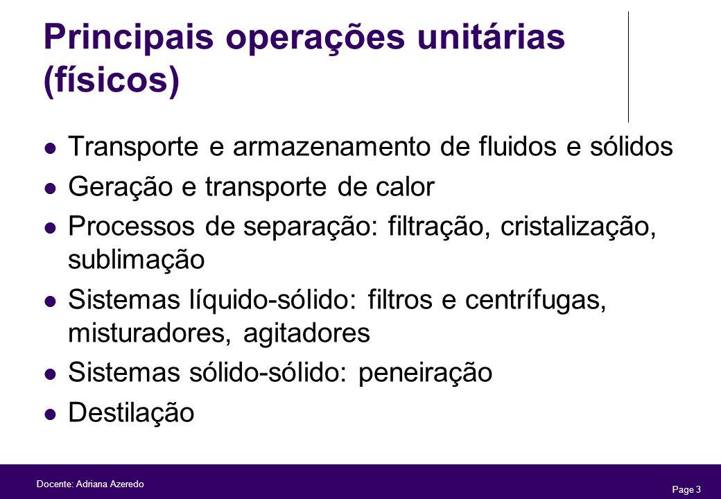 Page 3 Docente: Adriana Azeredo Principais operações unitárias (físicos) Transporte e armazenamento de fluidos e sólidos Geração e transporte de calor