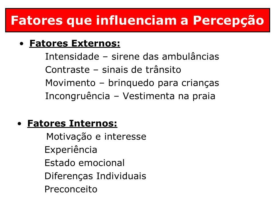 Fatores que influenciam a Percepção Fatores Externos: Intensidade – sirene das ambulâncias Contraste – sinais de trânsito Movimento – brinquedo para c