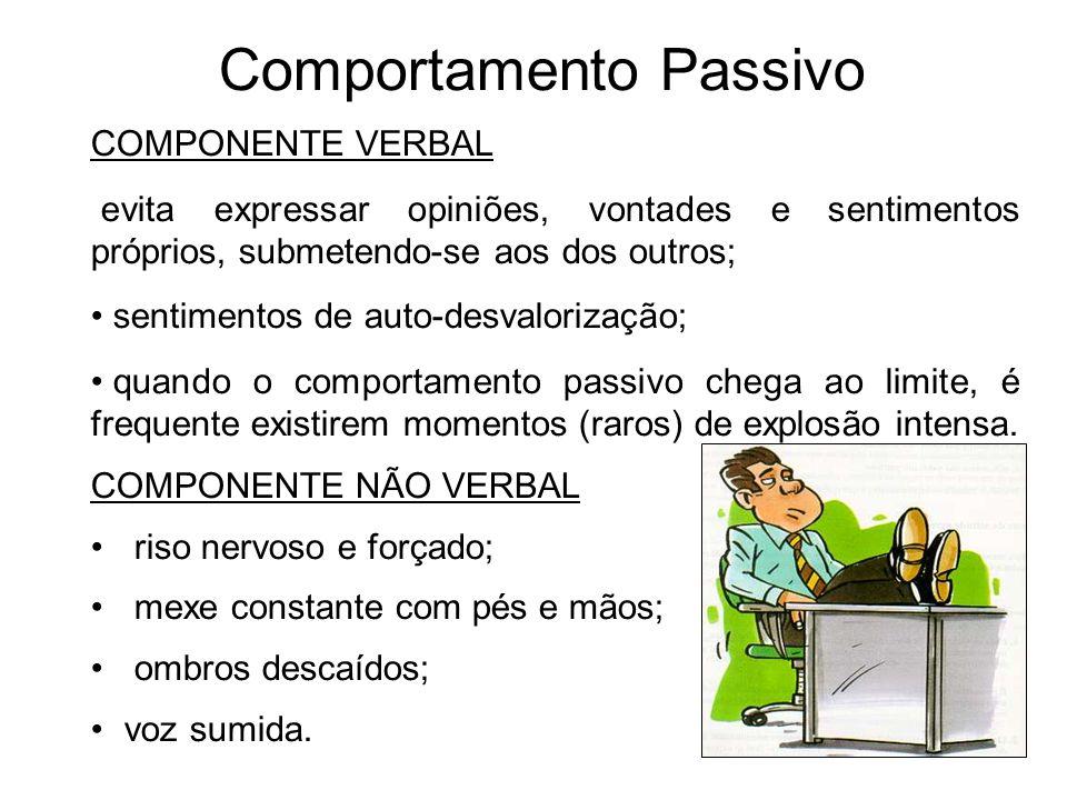 Comportamento Passivo COMPONENTE VERBAL evita expressar opiniões, vontades e sentimentos próprios, submetendo-se aos dos outros; sentimentos de auto-d