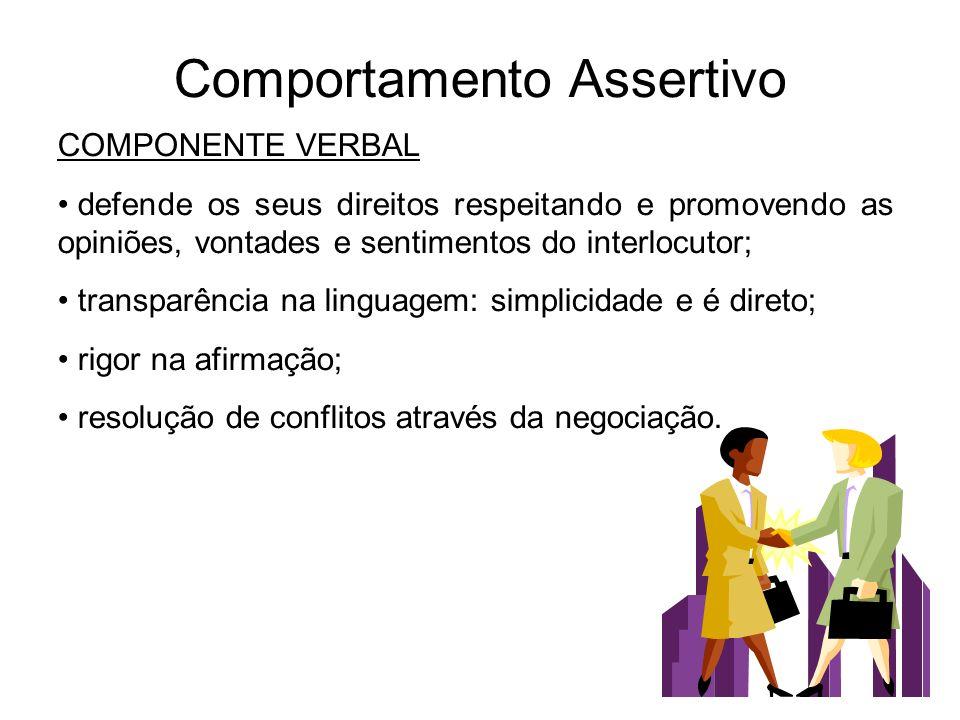 Comportamento Assertivo COMPONENTE VERBAL defende os seus direitos respeitando e promovendo as opiniões, vontades e sentimentos do interlocutor; trans