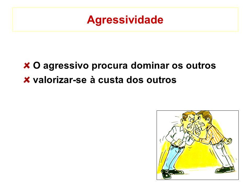 Agressividade O agressivo procura dominar os outros valorizar-se à custa dos outros