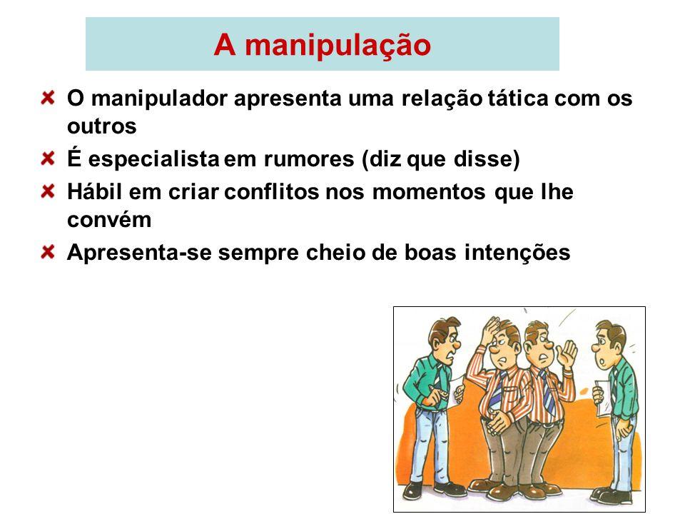 A manipulação O manipulador apresenta uma relação tática com os outros É especialista em rumores (diz que disse) Hábil em criar conflitos nos momentos