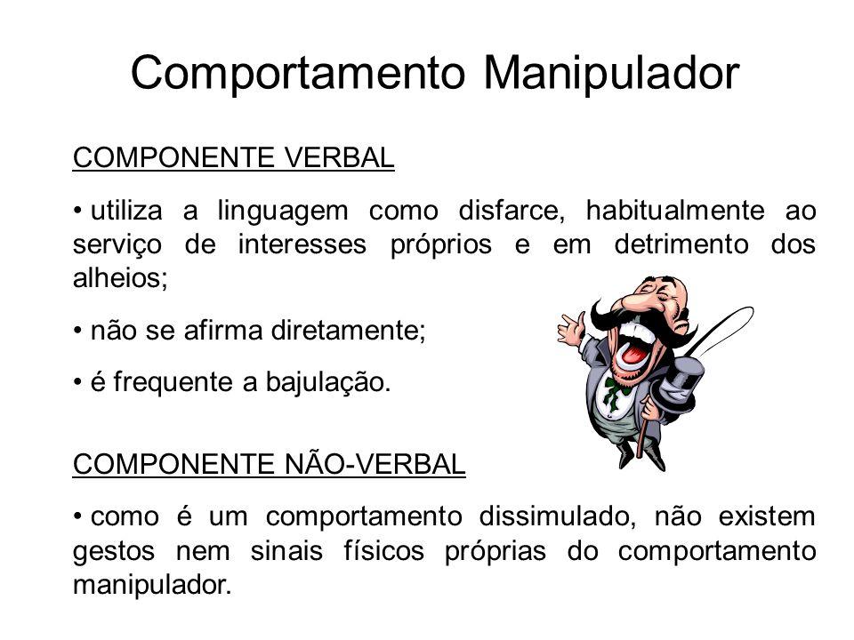 Comportamento Manipulador COMPONENTE VERBAL utiliza a linguagem como disfarce, habitualmente ao serviço de interesses próprios e em detrimento dos alh