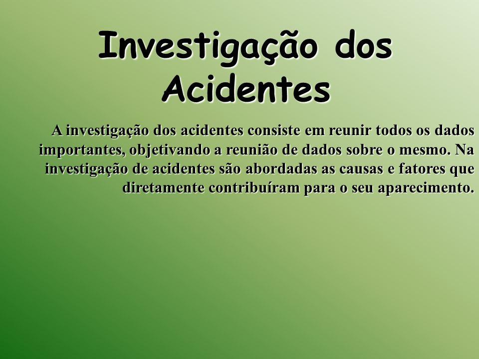 Investigação dos Acidentes A investigação dos acidentes consiste em reunir todos os dados importantes, objetivando a reunião de dados sobre o mesmo. N