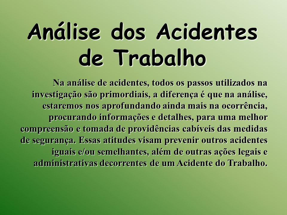 Análise dos Acidentes de Trabalho Na análise de acidentes, todos os passos utilizados na investigação são primordiais, a diferença é que na análise, e