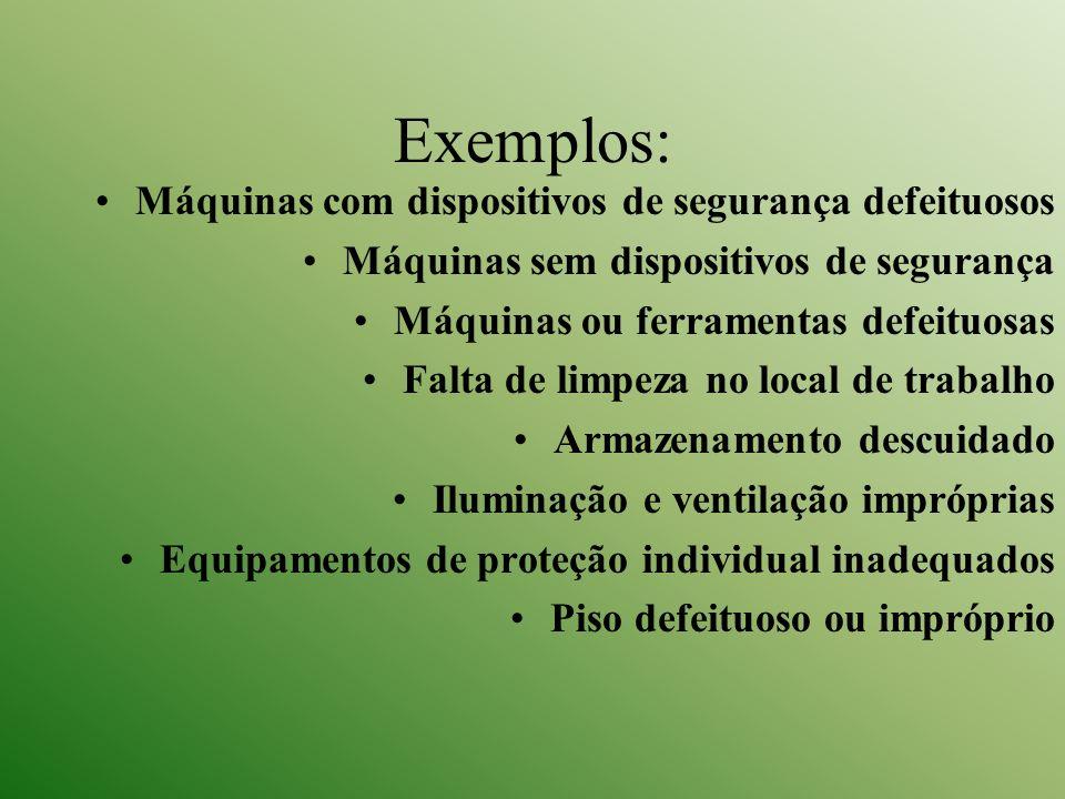 Exemplos: Máquinas com dispositivos de segurança defeituosos Máquinas sem dispositivos de segurança Máquinas ou ferramentas defeituosas Falta de limpe