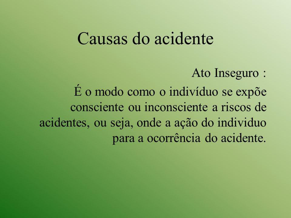 Causas do acidente Ato Inseguro : É o modo como o indivíduo se expõe consciente ou inconsciente a riscos de acidentes, ou seja, onde a ação do individ