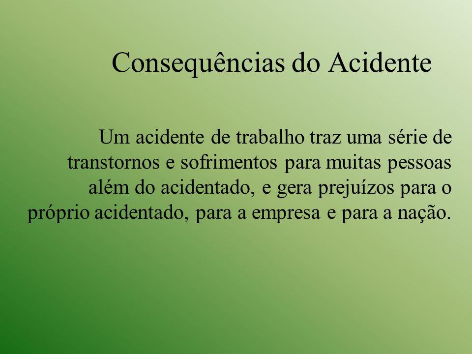 Consequências do Acidente Um acidente de trabalho traz uma série de transtornos e sofrimentos para muitas pessoas além do acidentado, e gera prejuízos