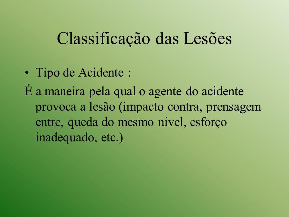 Classificação das Lesões Tipo de Acidente : É a maneira pela qual o agente do acidente provoca a lesão (impacto contra, prensagem entre, queda do mesm