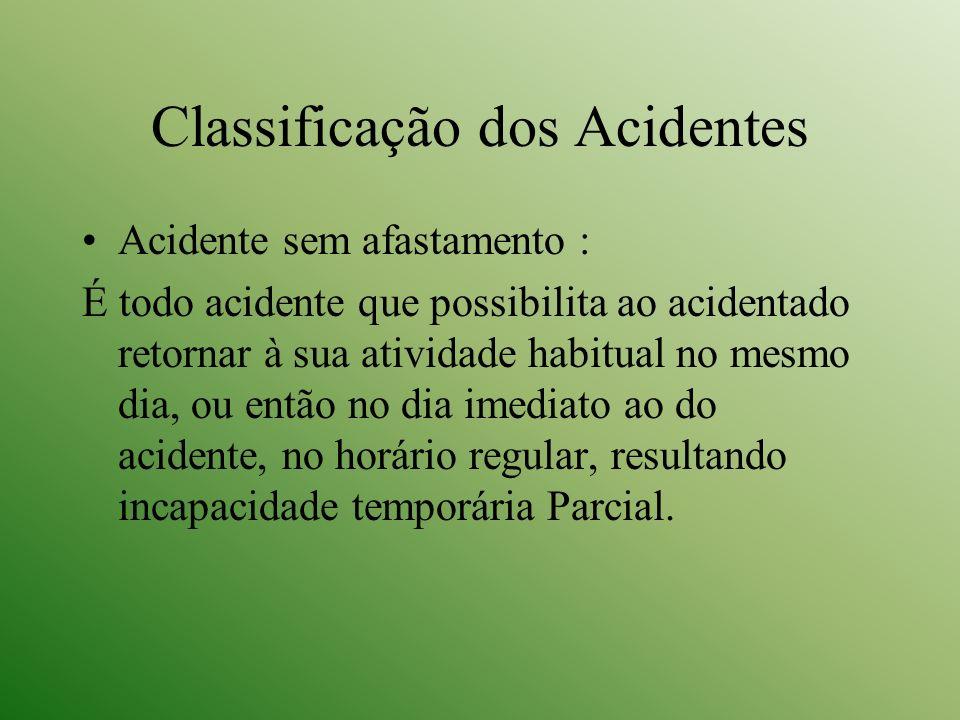 Classificação dos Acidentes Acidente sem afastamento : É todo acidente que possibilita ao acidentado retornar à sua atividade habitual no mesmo dia, o