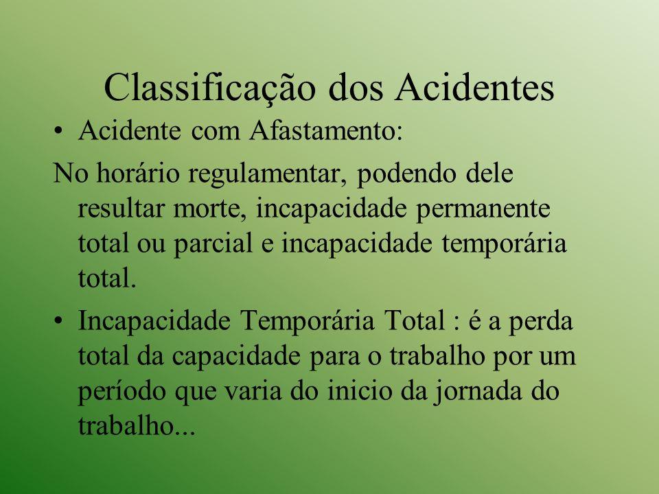 Classificação dos Acidentes Acidente com Afastamento: No horário regulamentar, podendo dele resultar morte, incapacidade permanente total ou parcial e