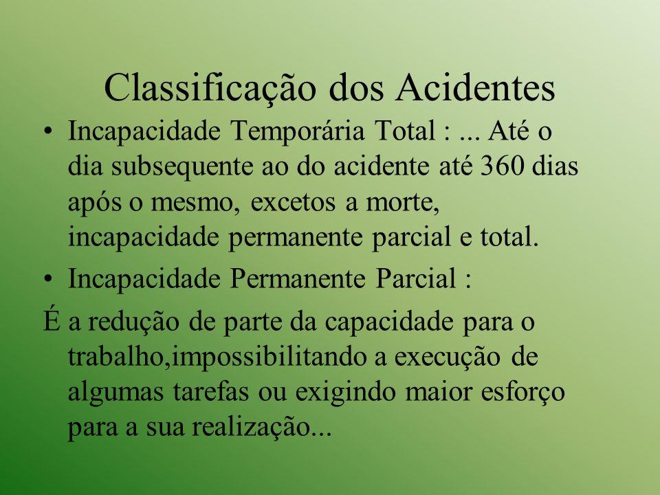 Classificação dos Acidentes Incapacidade Temporária Total :... Até o dia subsequente ao do acidente até 360 dias após o mesmo, excetos a morte, incapa