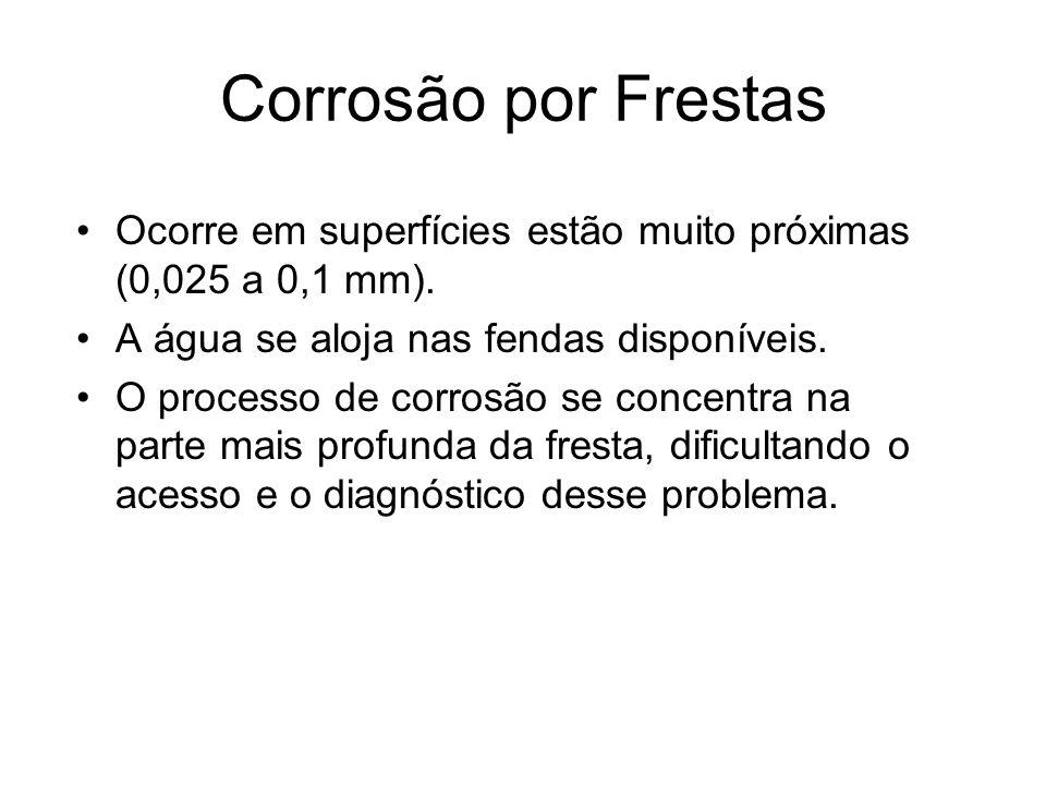 Corrosão por Frestas Ocorre em superfícies estão muito próximas (0,025 a 0,1 mm). A água se aloja nas fendas disponíveis. O processo de corrosão se co