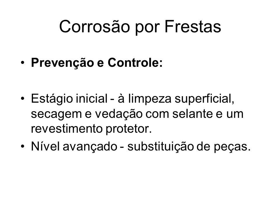 Corrosão por Frestas Prevenção e Controle: Estágio inicial - à limpeza superficial, secagem e vedação com selante e um revestimento protetor. Nível av