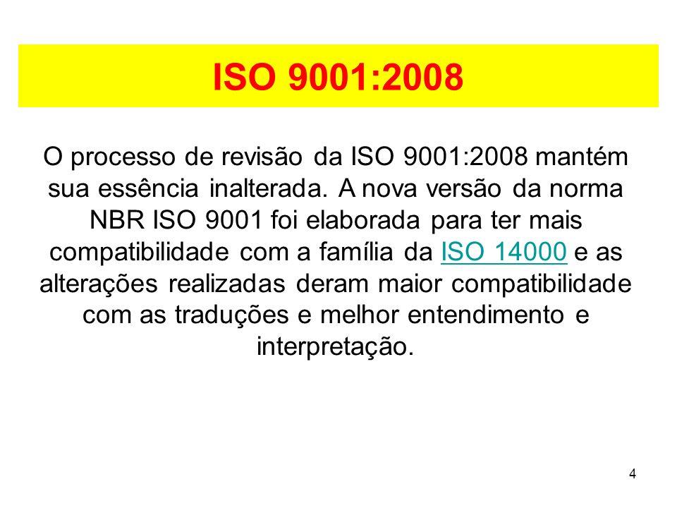 4 ISO 9001:2008 O processo de revisão da ISO 9001:2008 mantém sua essência inalterada.