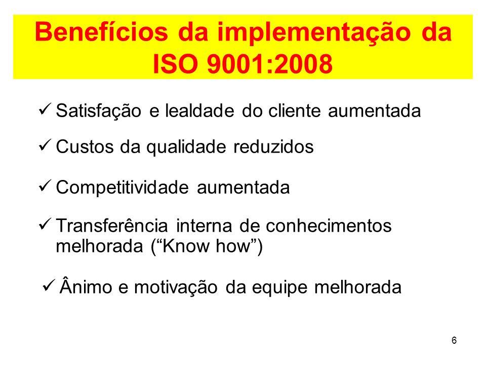 6 Benefícios da implementação da ISO 9001:2008 Satisfação e lealdade do cliente aumentada Custos da qualidade reduzidos Competitividade aumentada Transferência interna de conhecimentos melhorada (Know how) Ânimo e motivação da equipe melhorada