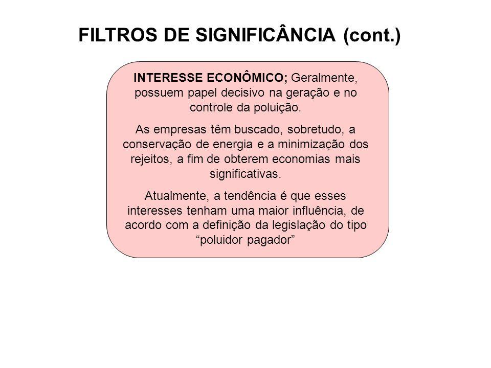 FILTROS DE SIGNIFICÂNCIA (cont.) INTERESSE ECONÔMICO; Geralmente, possuem papel decisivo na geração e no controle da poluição. As empresas têm buscado