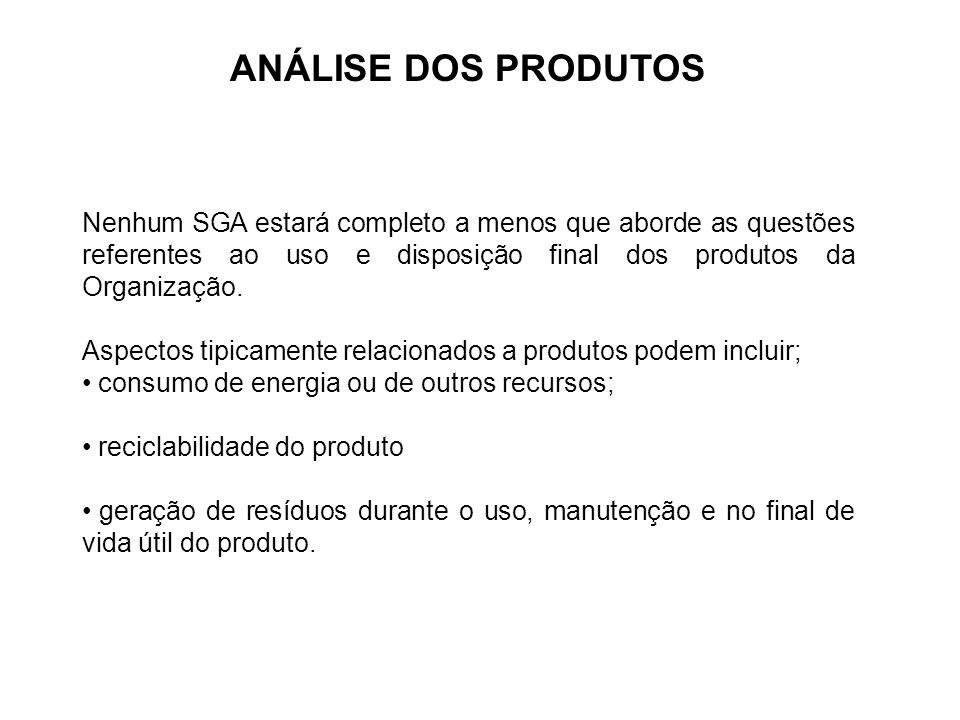ANÁLISE DOS PRODUTOS Nenhum SGA estará completo a menos que aborde as questões referentes ao uso e disposição final dos produtos da Organização. Aspec