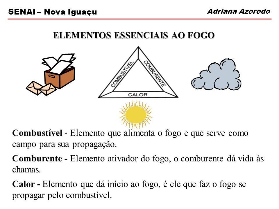 Adriana Azeredo SENAI – Nova Iguaçu Combustível - Elemento que alimenta o fogo e que serve como campo para sua propagação. Comburente - Elemento ativa