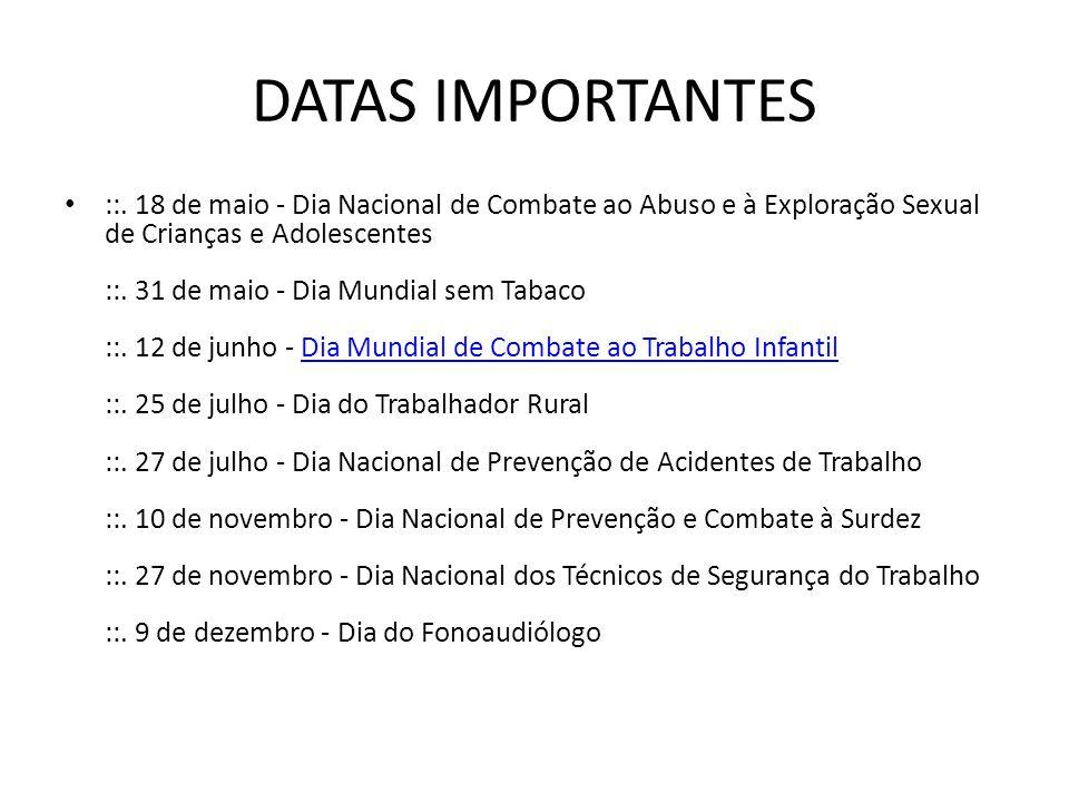 DATAS IMPORTANTES ::.