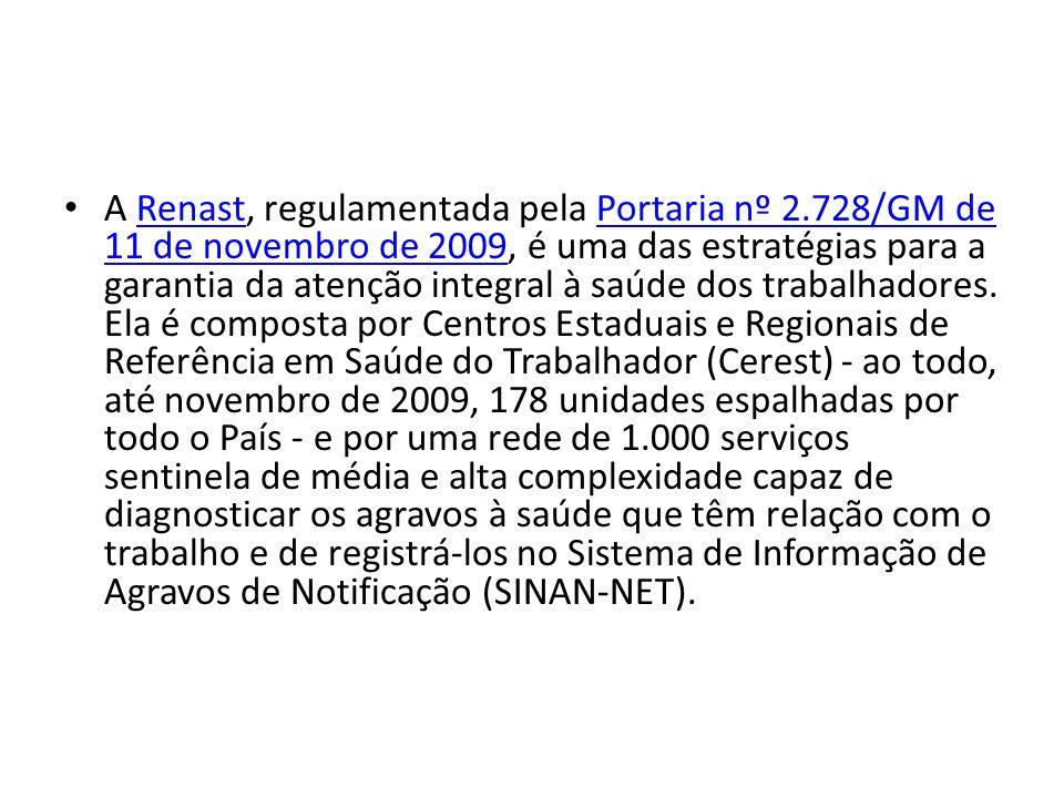 A Renast, regulamentada pela Portaria nº 2.728/GM de 11 de novembro de 2009, é uma das estratégias para a garantia da atenção integral à saúde dos trabalhadores.