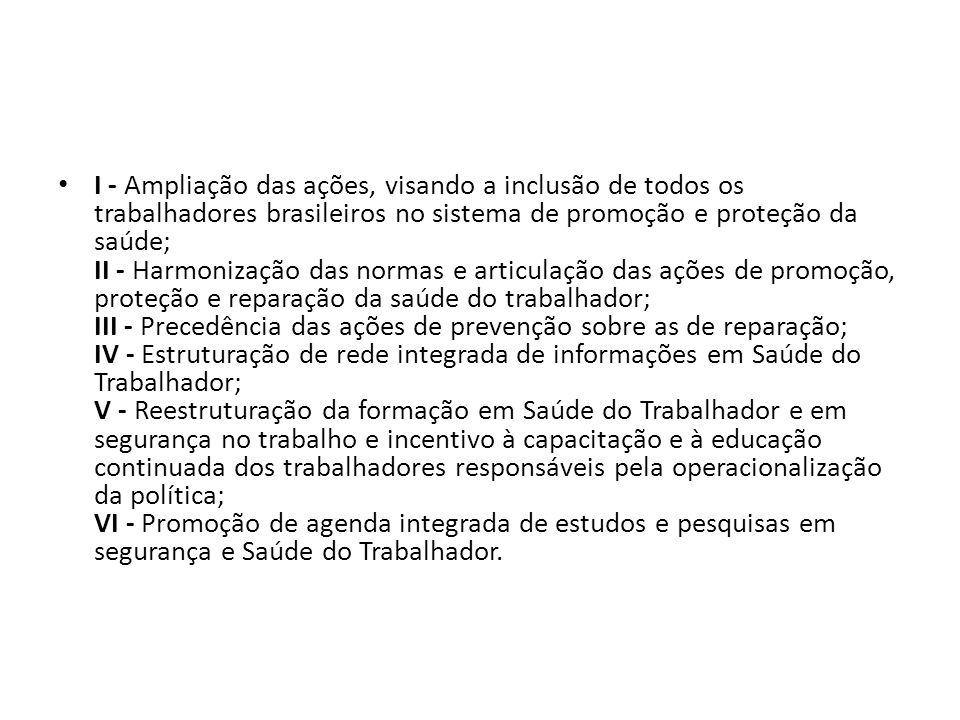 I - Ampliação das ações, visando a inclusão de todos os trabalhadores brasileiros no sistema de promoção e proteção da saúde; II - Harmonização das normas e articulação das ações de promoção, proteção e reparação da saúde do trabalhador; III - Precedência das ações de prevenção sobre as de reparação; IV - Estruturação de rede integrada de informações em Saúde do Trabalhador; V - Reestruturação da formação em Saúde do Trabalhador e em segurança no trabalho e incentivo à capacitação e à educação continuada dos trabalhadores responsáveis pela operacionalização da política; VI - Promoção de agenda integrada de estudos e pesquisas em segurança e Saúde do Trabalhador.