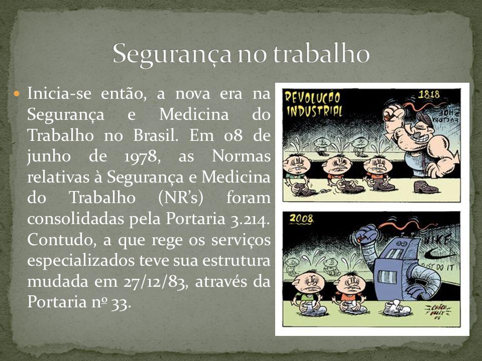 Inicia-se então, a nova era na Segurança e Medicina do Trabalho no Brasil.
