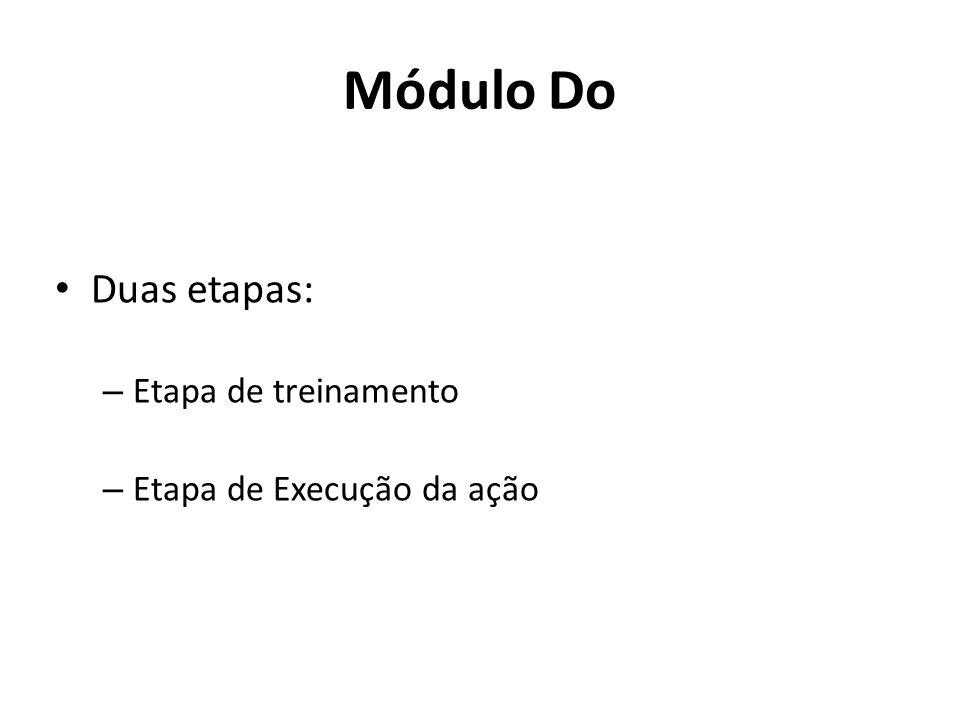 Módulo Do Duas etapas: – Etapa de treinamento – Etapa de Execução da ação